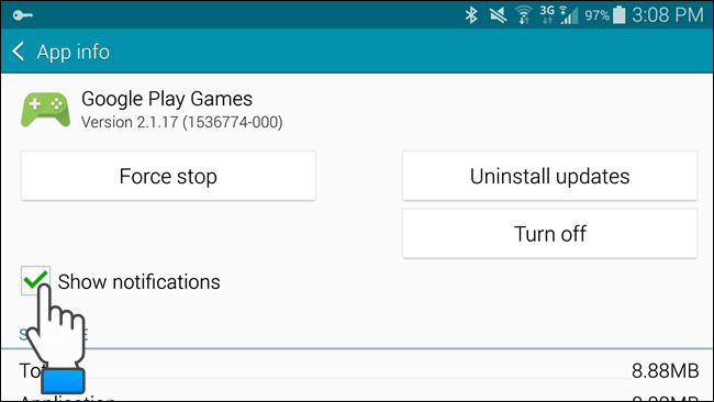 Disable Show Notifications option