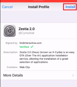install zestia with profile