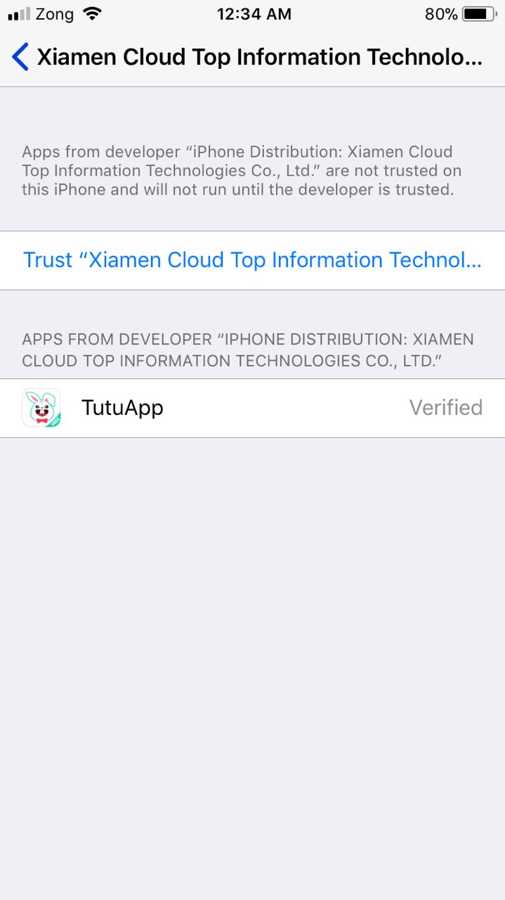 trust the tutuapp profile ios