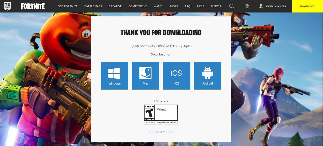 Fortnite Download Page